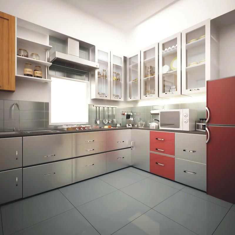 Stainless Steel Modular Kitchen Cabinets: Line Modular Kitchen Designer In Meerut