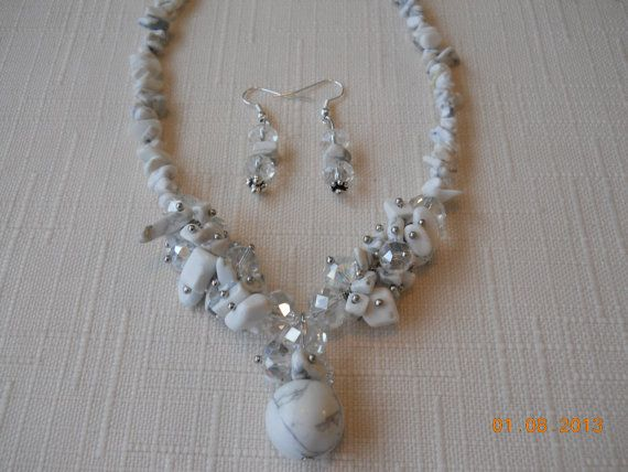 """9"""" Long White Turquoise Chip Stone Beads and Crystal Necklace Set by maryannsway on etsy"""