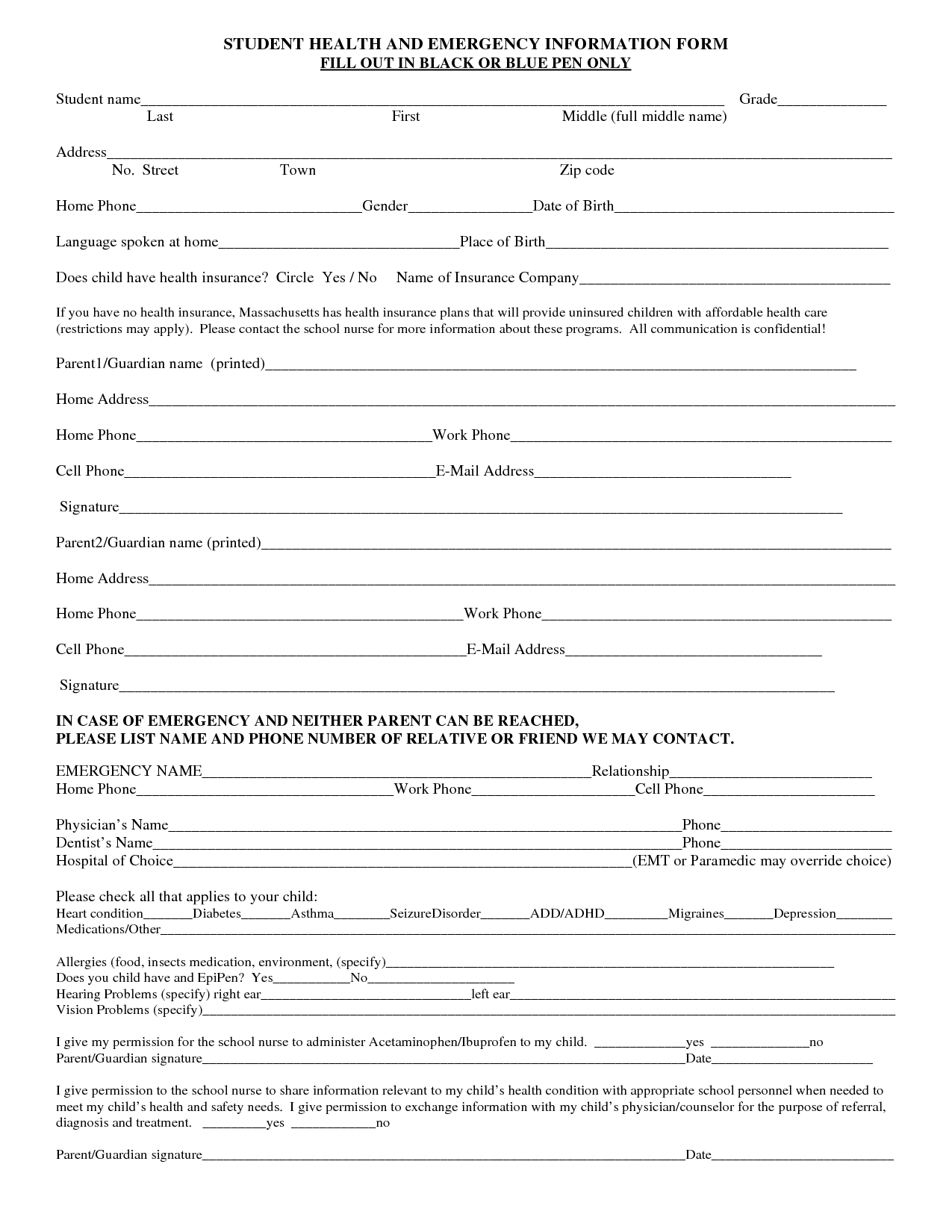 School Emergency Contact Form  Arlington Public Schools EForms