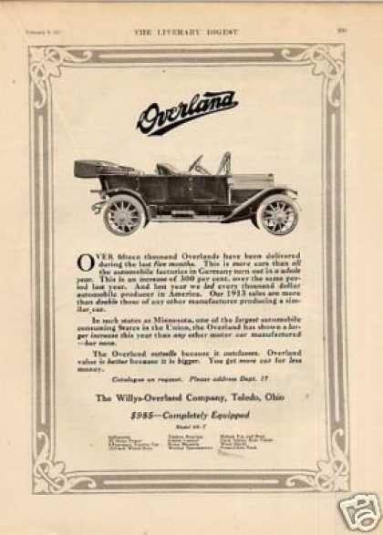 Willys Overland Car 1913 Vintage Cars Car Advertising Motor Car