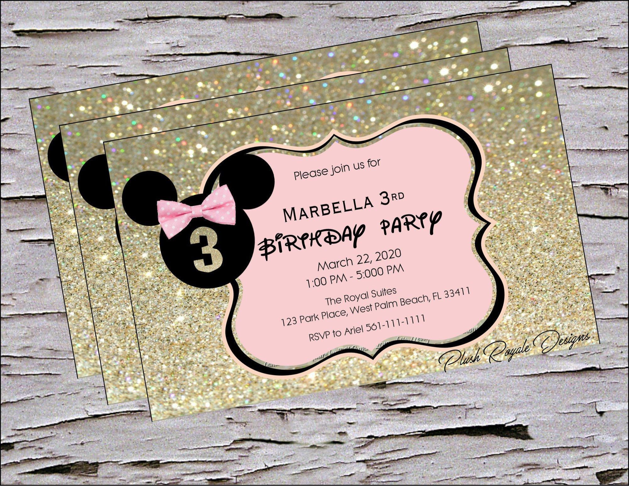 Minnie Mouse, Black, Gold and Pink, Minnie ears, Birthday ...