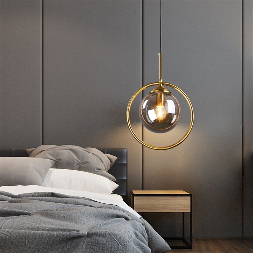 Nordic Single Headed Glass Pendant Lights Luxury Living Room Bedroom Bedside Bronze Gold Lamps Ma Pendant Light Pendant Ceiling Lamp Living Room Light Fixtures