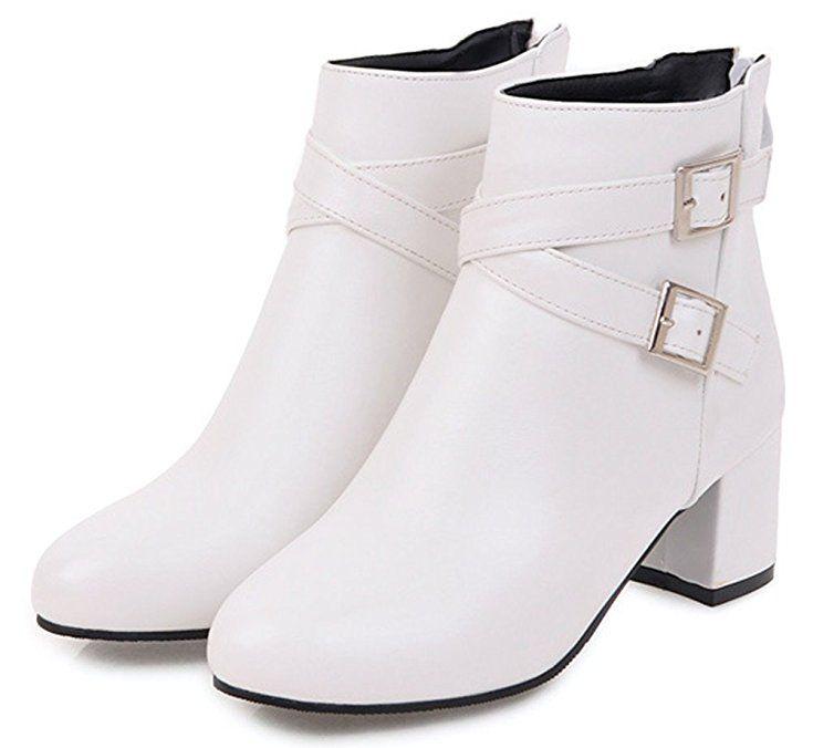 Women's Elegant Round Toe Zip Up Mid Block Heel Short Ankle Boots