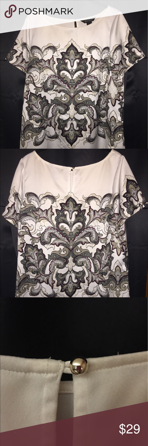 White House Back Market Blouse Very pretty blouse from the posh White House Black Market store.  Pretty gold ball closure.  Size 14 and like new! White House Black Market Tops Blouses