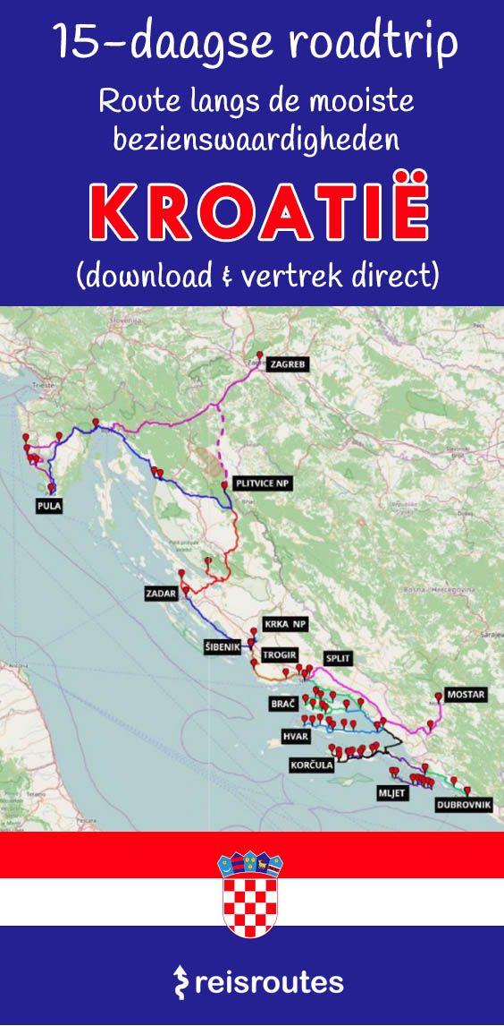 Zelf Op Roadtrip Door Kroatie Met De Auto Complete Route Kaart