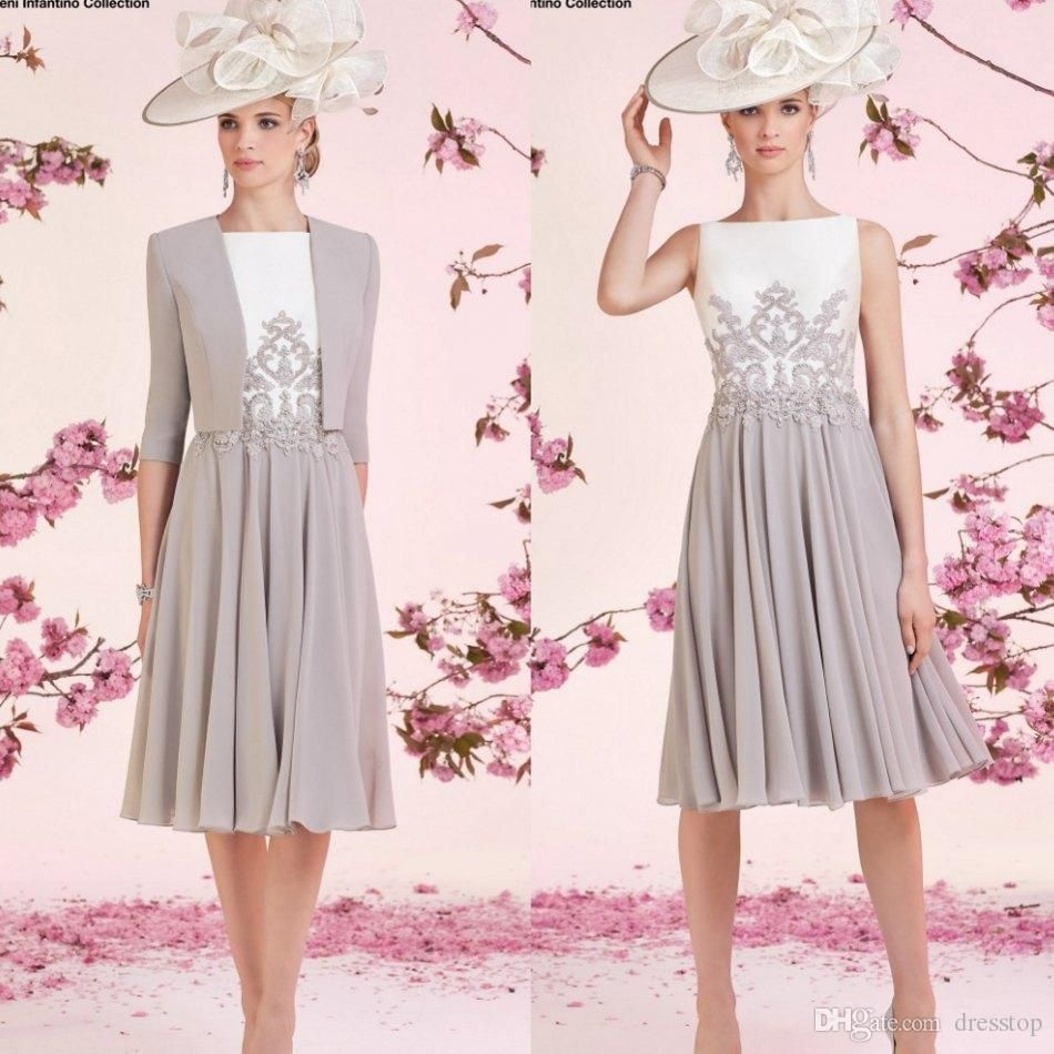 Dress with jacket for wedding   Ronald Joyce Mother Of The Bride Dresses Bateau Neck Appliqued