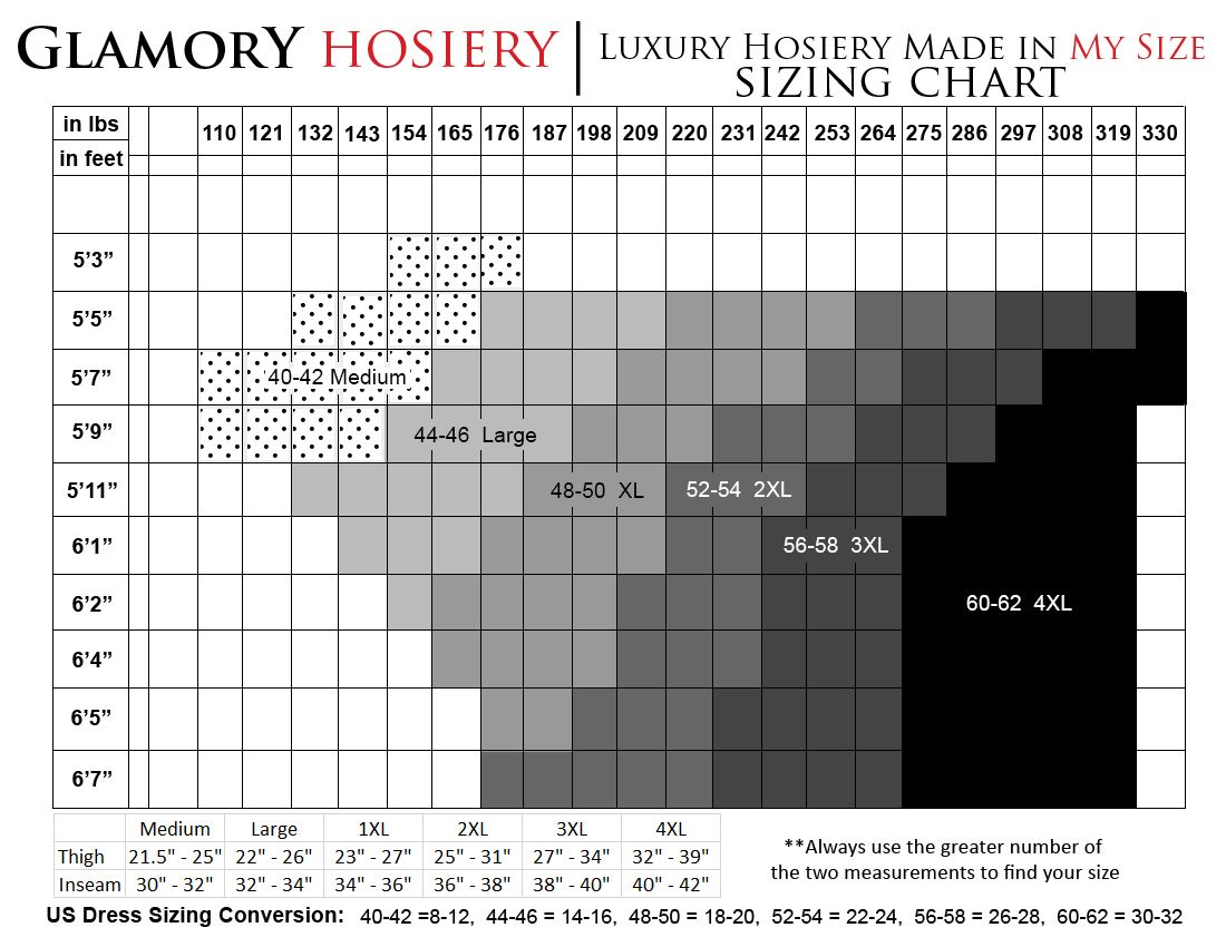 Glamory Hosiery Sizing Chart With Dress Size Height And Weight As