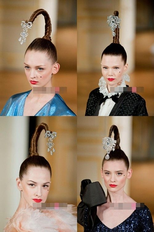 Alexis Mabille S Models With Fancy Hairstyle Coconut Tree At The
