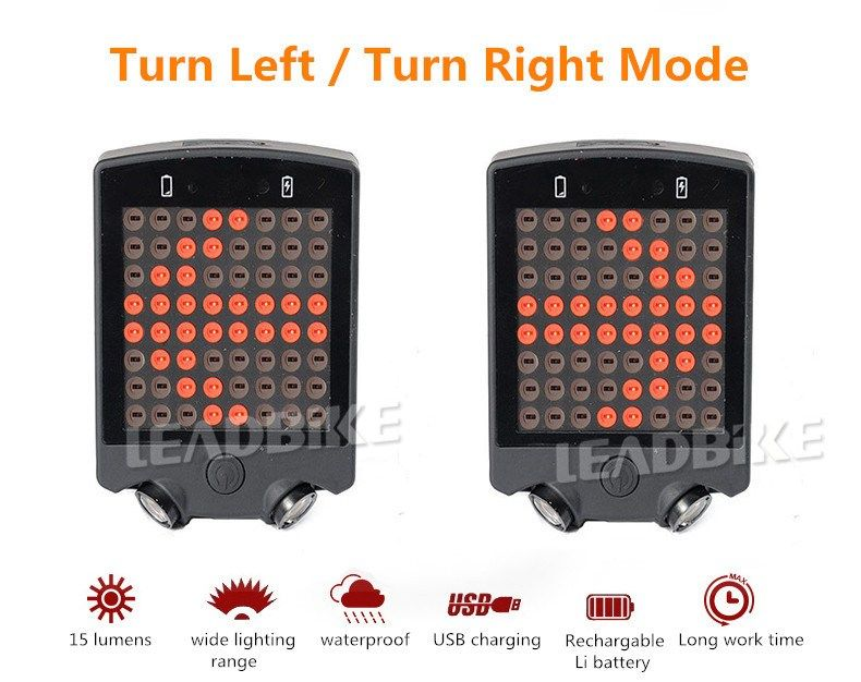 64 LED Rechargeable Tail Light Remote Turn Signal Rear Lamp Brake Light Bicycle