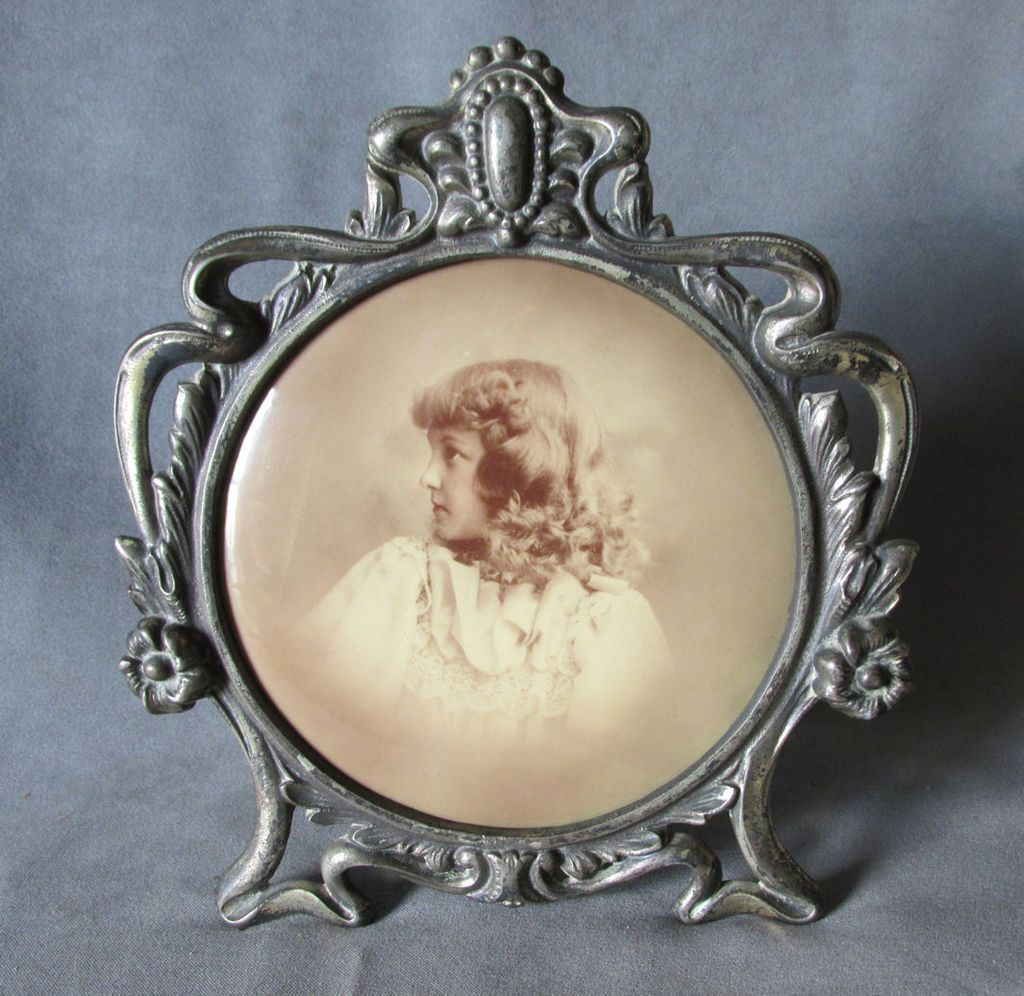 C1900s Art Nouveau Picture Frame With Celluloid Photo Of