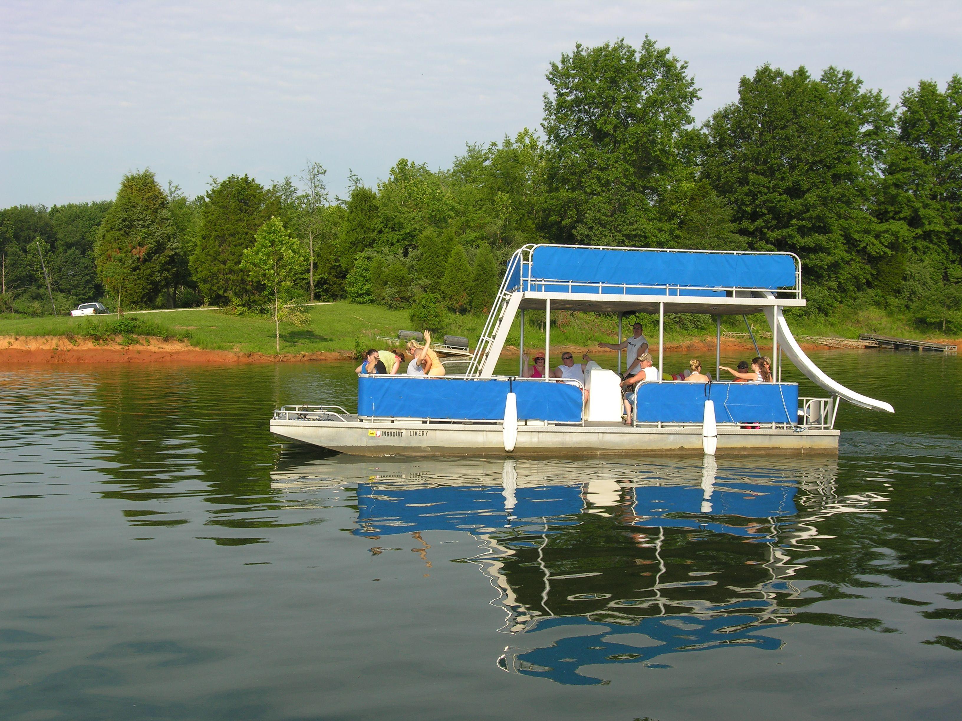 Fun n play pontoons pontoon boat with slide boat rental