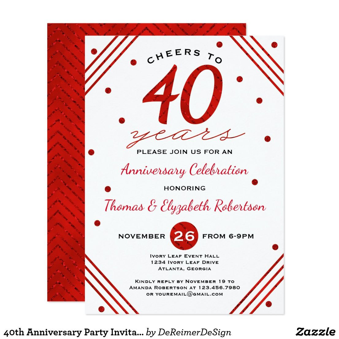 Modern 40th Party Invitations Crest - Invitations and Announcements ...