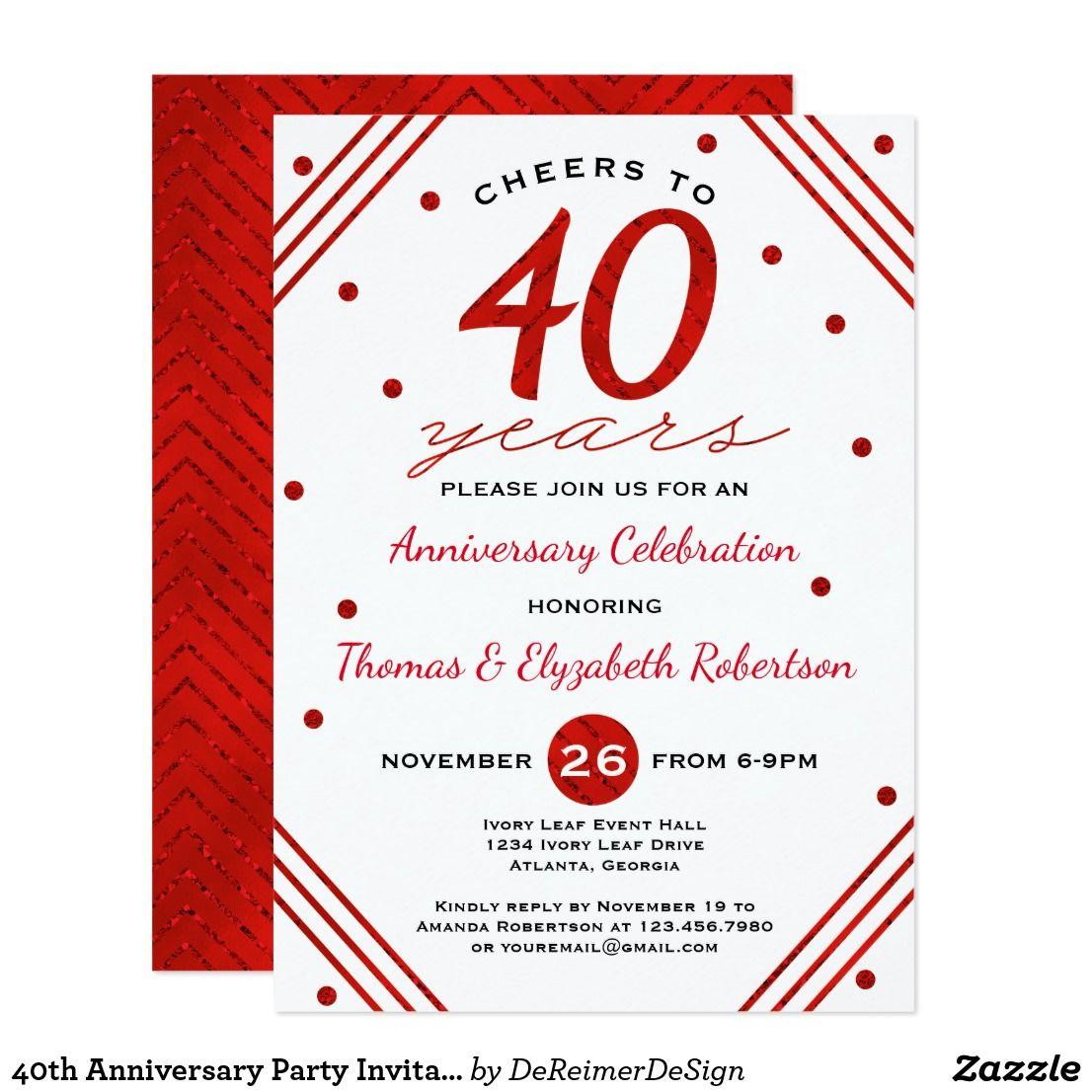 40th Anniversary Party Invitation, Ruby Invitation | Invitations ...