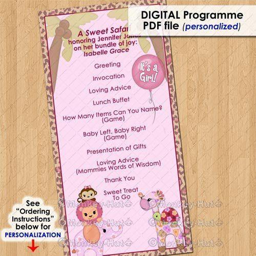 Sweet Safari Party Event Programme Program Girls Baby Shower Etsy Sampleresume Babyshoweragendatemplate Safari Party Baby Shower Program Baby Shower
