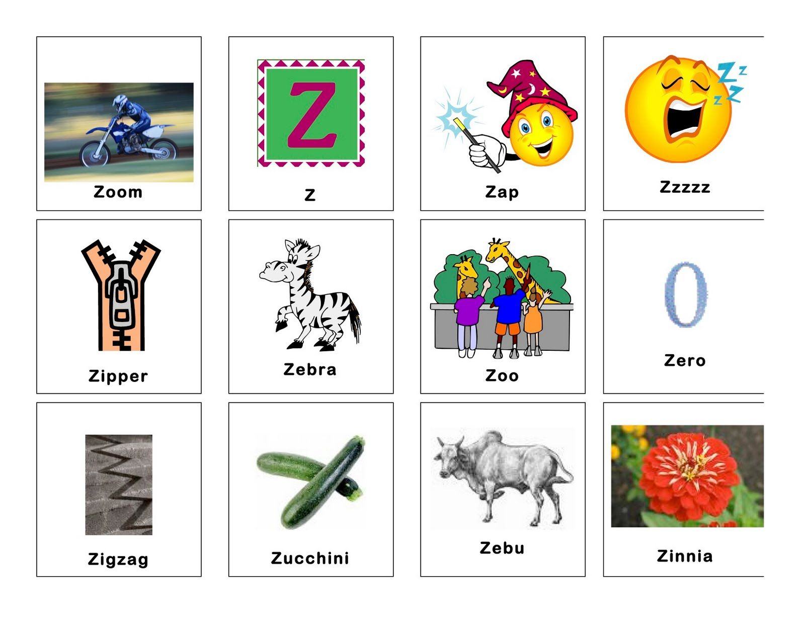 Image Result For Z Words For Kindergarten