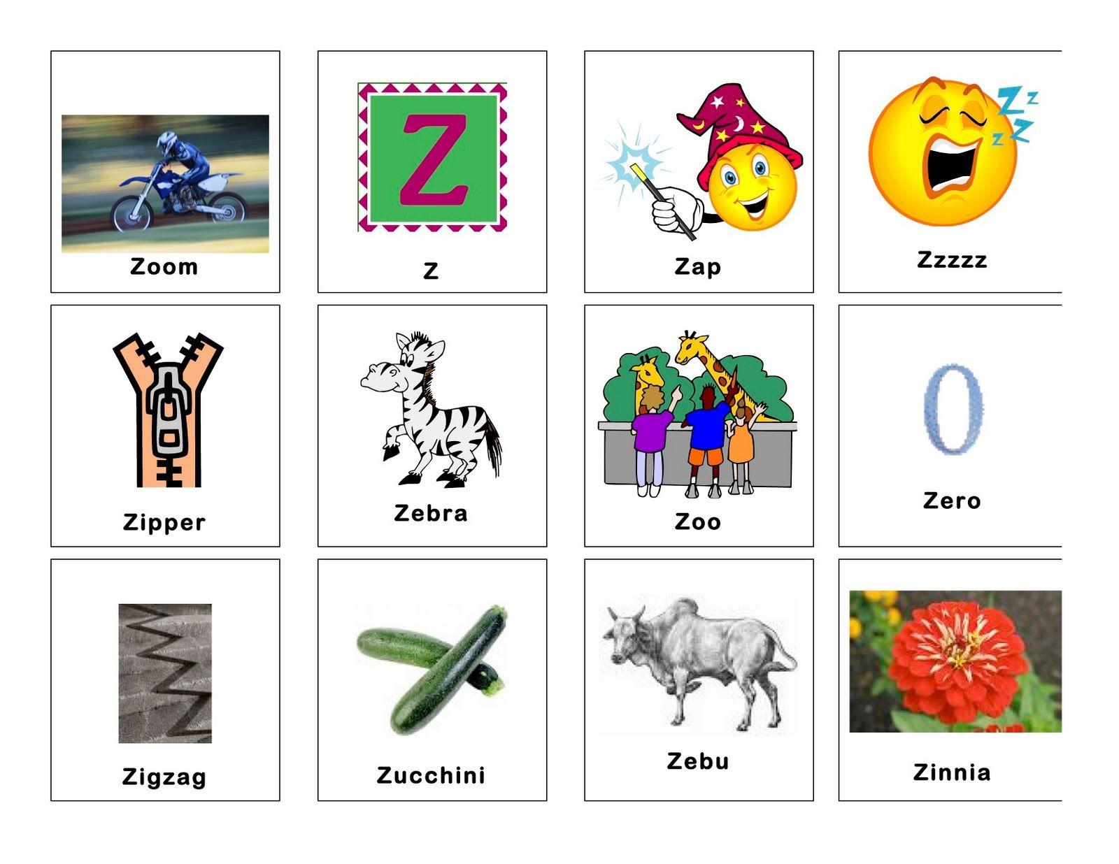 Image Result For Z Words For Kindergarten