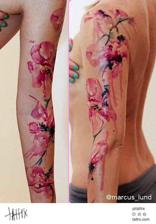 Tattrx Purple Butterfly Tattoo Orchid Tattoo Watercolor Orchid