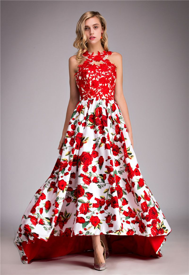 New arrival rose print semi formal dresses red long prom