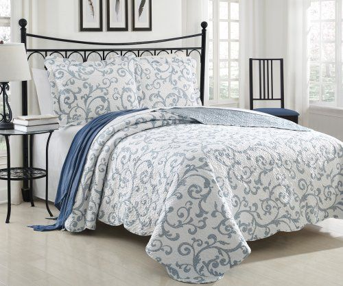 3 Piece Cotton Filled Blue White Scroll Floral Quilted Coverlet Set Queen  JD Home Http