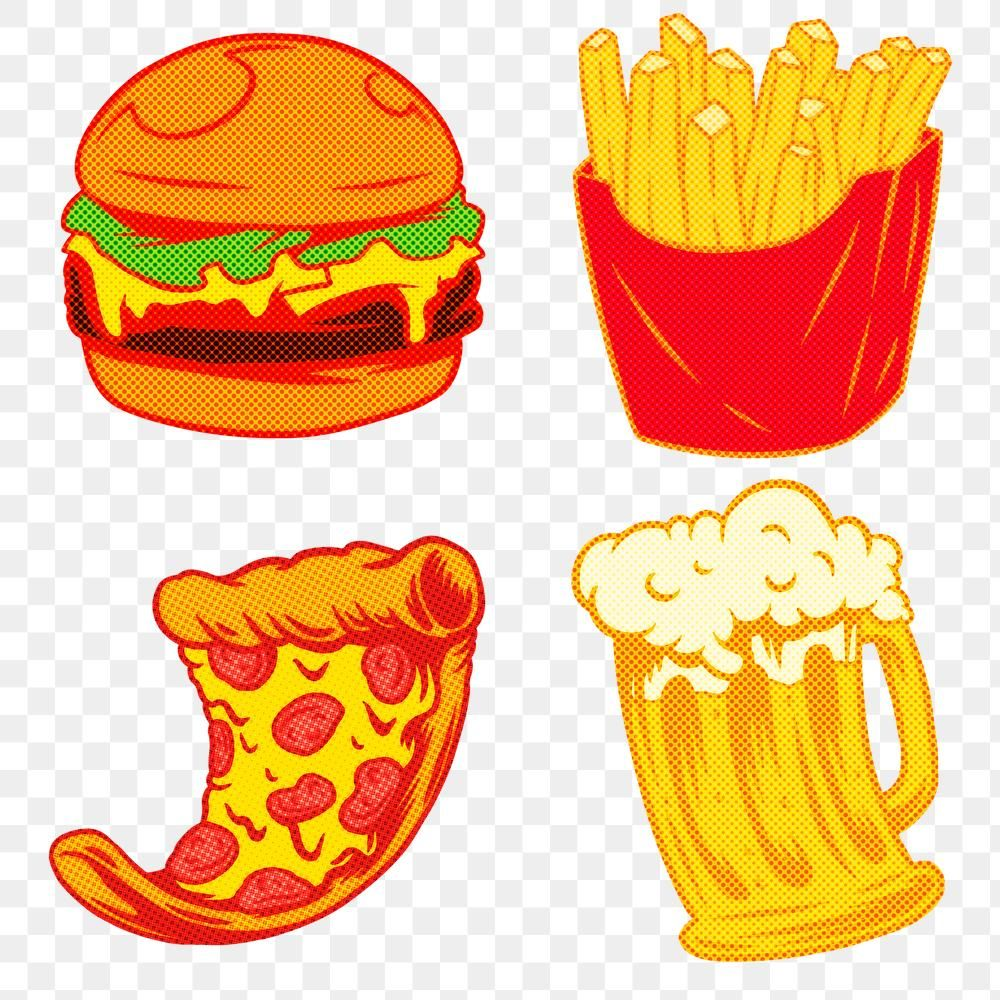 Junk Food Sticker Set Design Resources Free Image By Rawpixel Com Ningzk V Beer Stickers Fun Stickers Free Illustrations