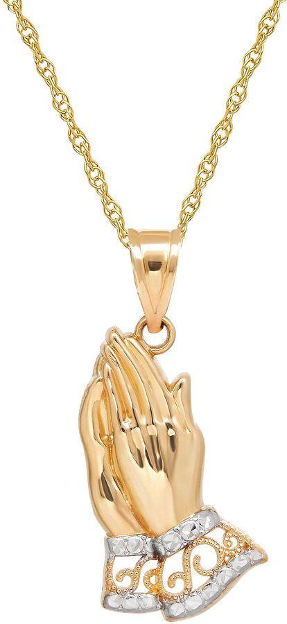 Infinite gold 14k yellow gold praying hands pendant necklace fine jewelry infinite gold 14k yellow gold praying hands pendant necklace aloadofball Choice Image