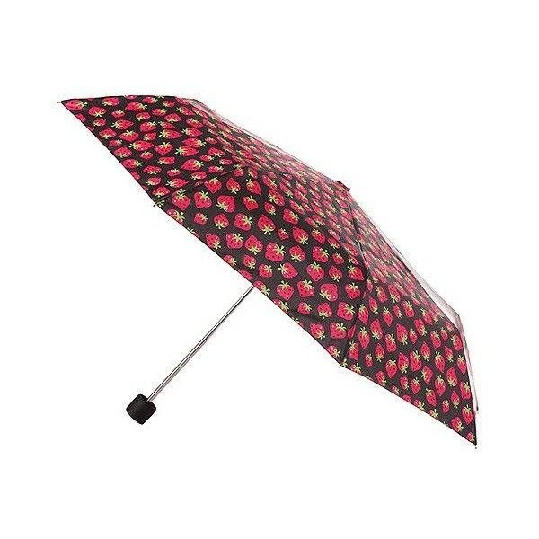 totes Compact Umbrella - Strawberry, Black (£8.97) ❤ liked on Polyvore featuring accessories, umbrellas, black, totes umbrella and black umbrella