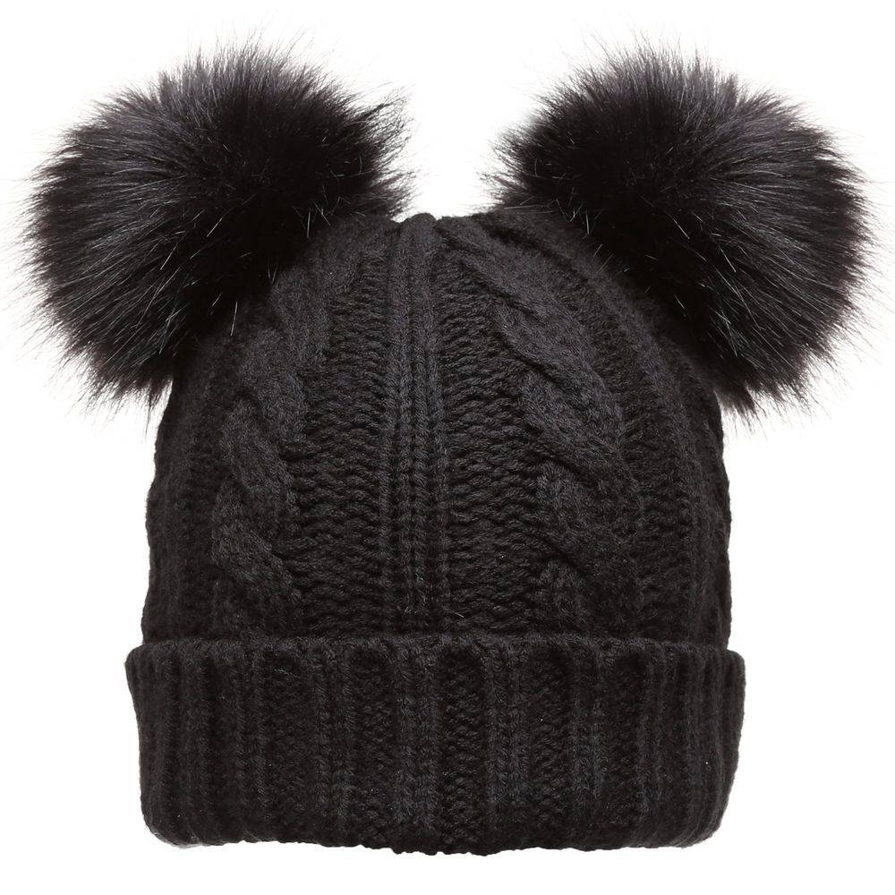9511921ccd04d9 Womens Ladies Winter Beanie Cap Cable Knitted Faux Fur Double Pom Pom NEW  2018 #fashion #clothing #shoes #accessories #womensaccessories #hats (ebay  link)
