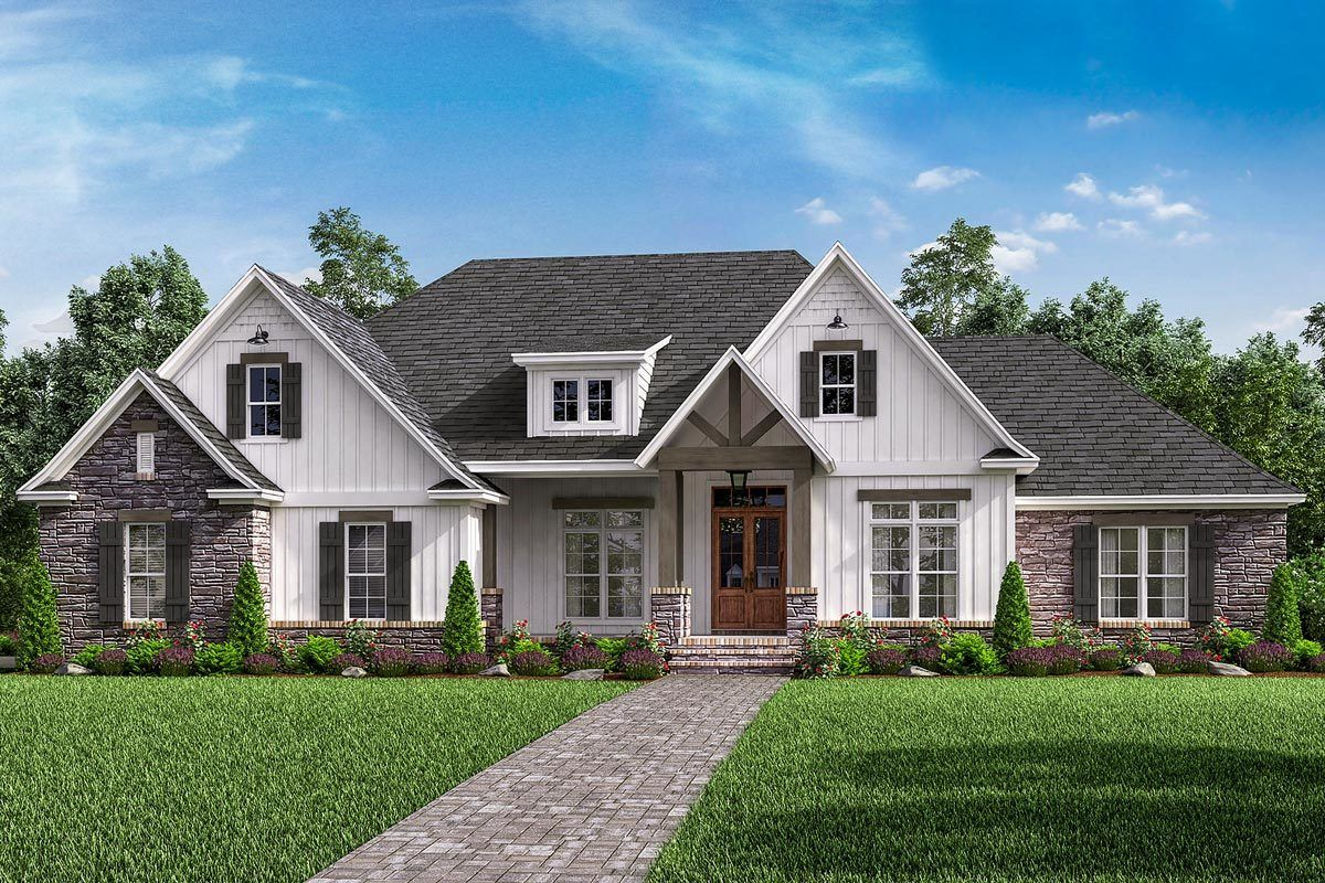 Photo of Plan 51778HZ: Open-Concept 4-Bed Craftsman Home Plan with Bonus Over Garage