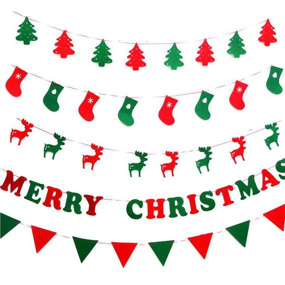 Merry Christmas Bunting Banner Various Styles Christmas Bunting Colorful Christmas Banner Chr Christmas Flag Banner Christmas Flag Christmas Party Decorations