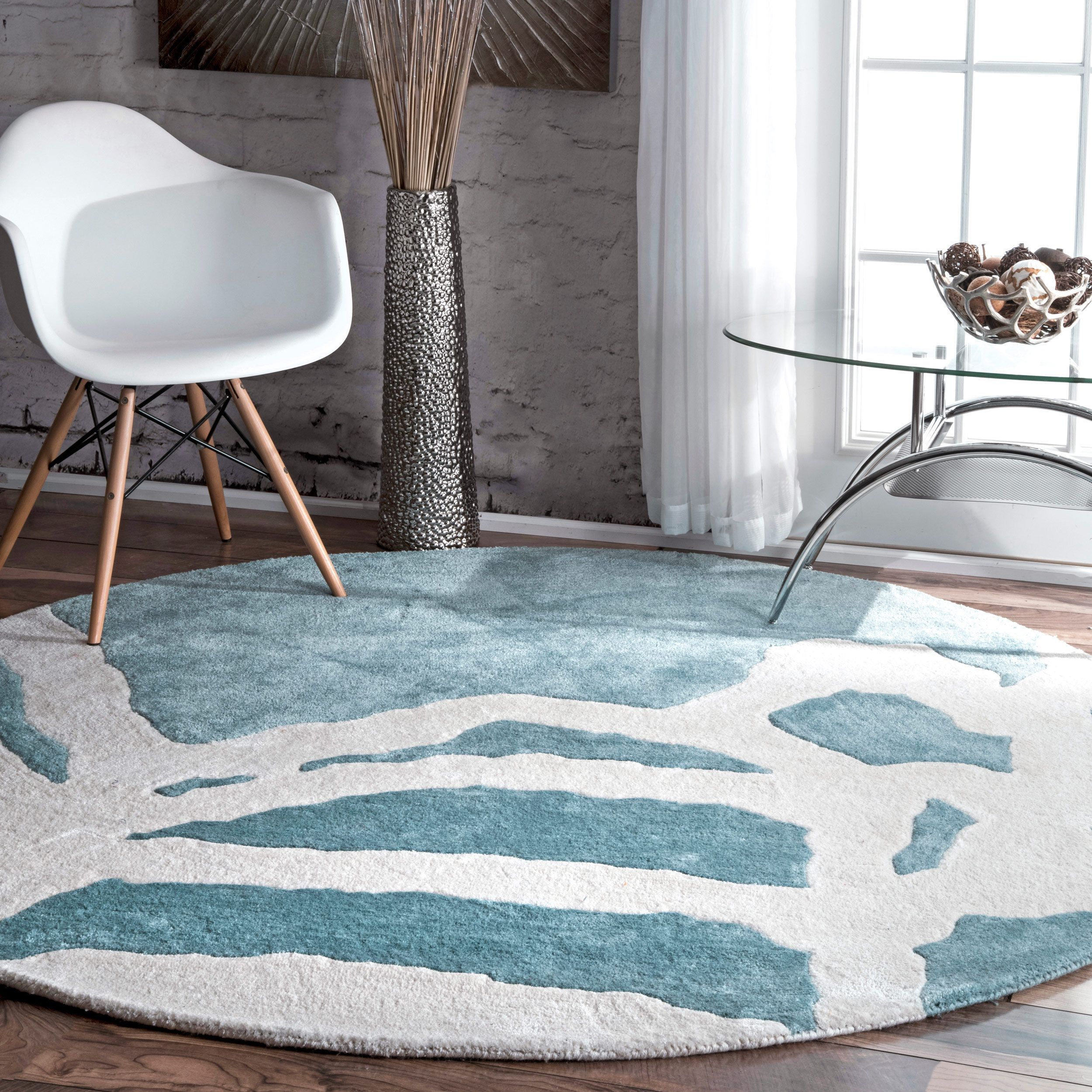 Nuloom contemporary abstract aqua green round rug 6 round aqua green blue size 6