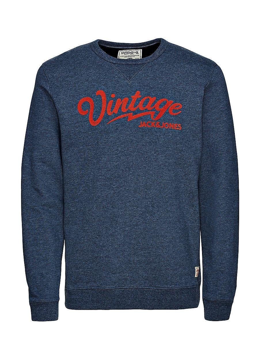JACK & JONES VINTAGE CLOTHING - Sweatshirt von VINTAGE - Rundhalsausschnitt - Regular fit - V-Naht mit Rippeneinsatz - Kragen, Bündchen und Saum sind gerippt - Markenlogo als Flock-Print und in Craquelé-Optik vorn - Das Modell trägt Größe L und ist 187 cm groß 80% Baumwolle, 20% Polyester...