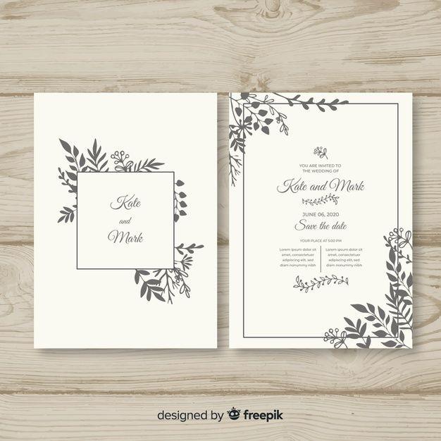 Hand Drawn Wedding Invitation Template F Free Vector