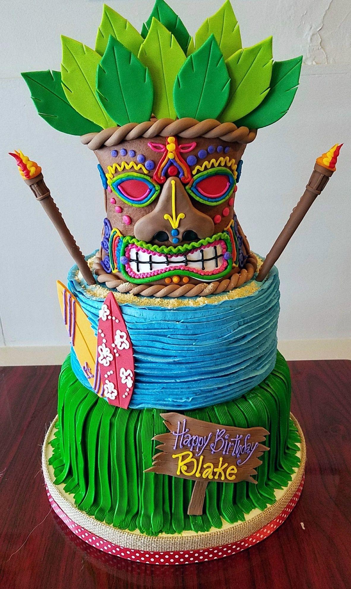 Pleasant Luau Tiki Birthday Cake Adrienne Co Bakery With Images Funny Birthday Cards Online Elaedamsfinfo