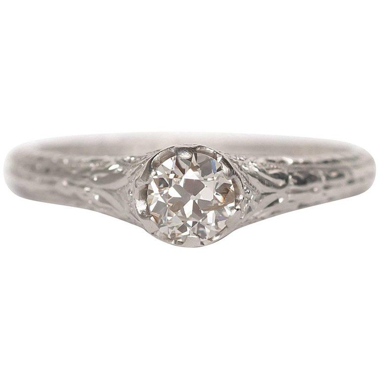 1910 Edwardian 40 Carat Old European Brilliant Platinum Engagement