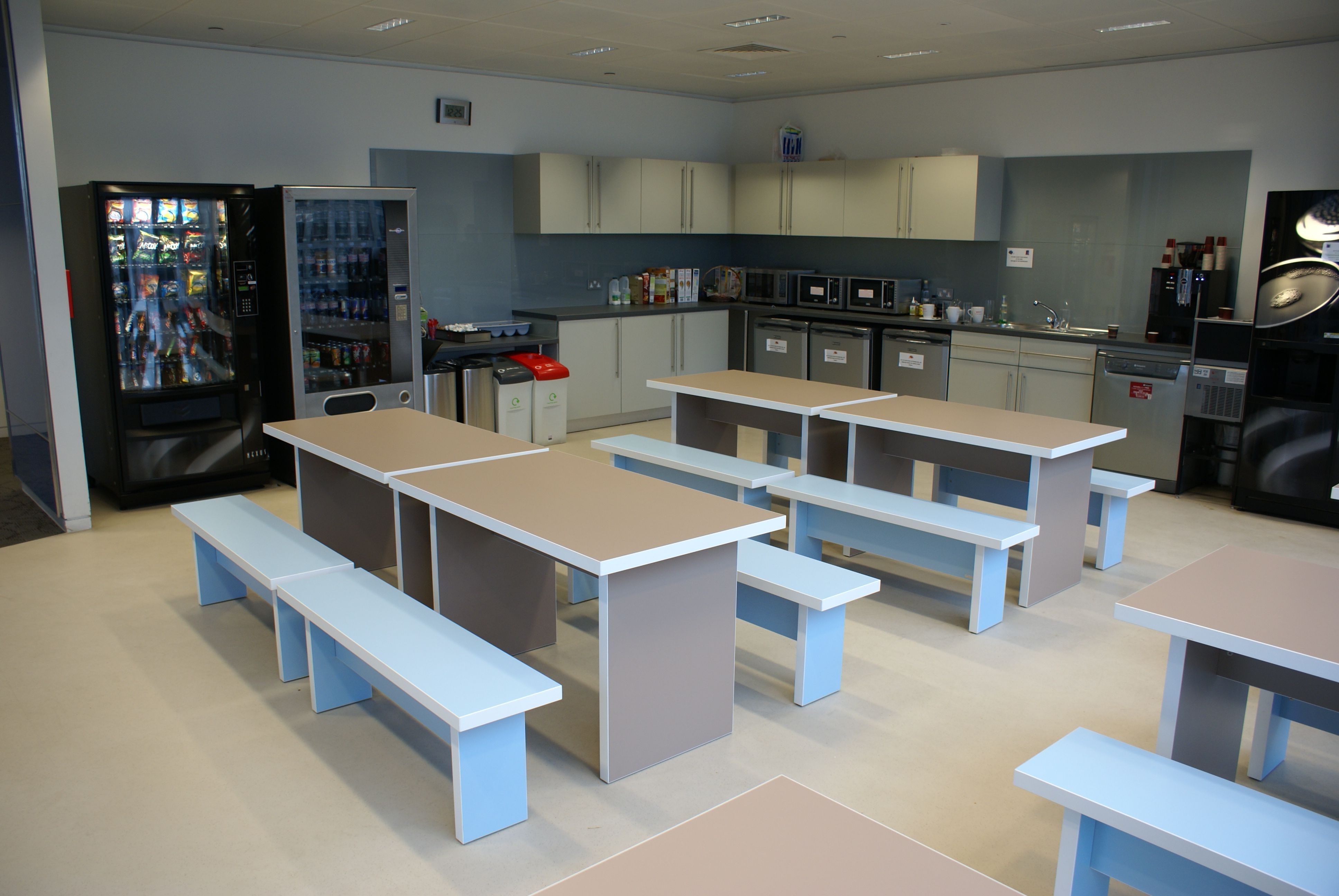 Office Furniture Slab End Benches With Contrasting Edges And Coordinating Bench Seating