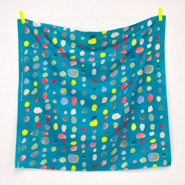 Blue D 50cm Nani Iro Japanese Fabric Kokka Colorful Pocho Bijoux Double Gauze