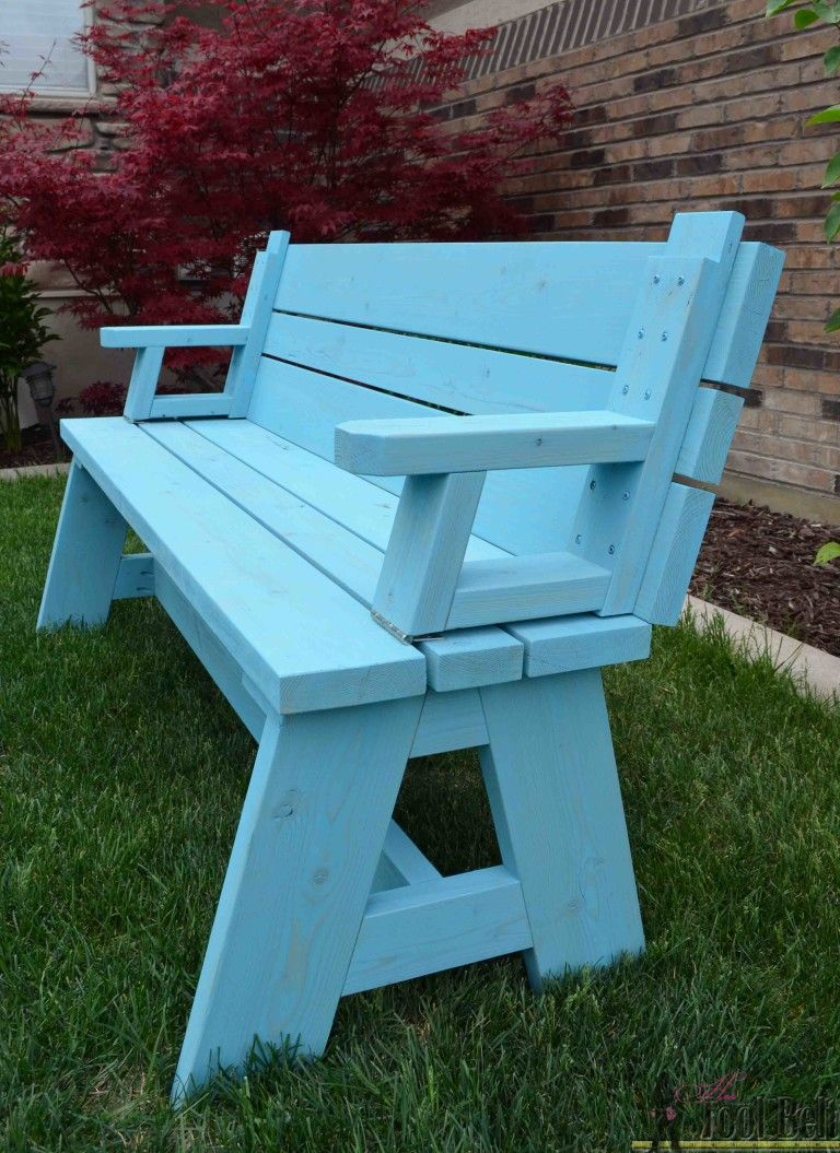 Not Only Is This Picnic Table Great For Outdoor Eating But It Easily Converts Into Two Cute Garden Benches The S Top Folds Down To Create