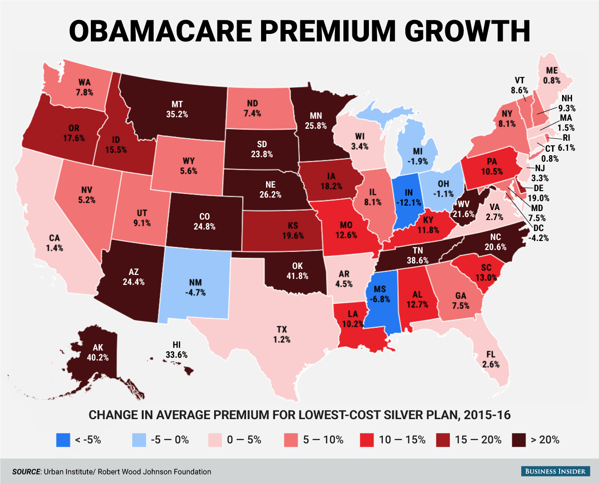 Here S How Much The Price Of Obamacare Changed This Year For Every State In The Us Obamacare Health Care Us State Map