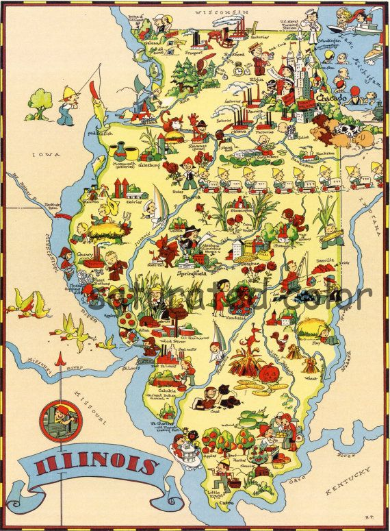 Wisconsin Antique Vintage Pictorial Map