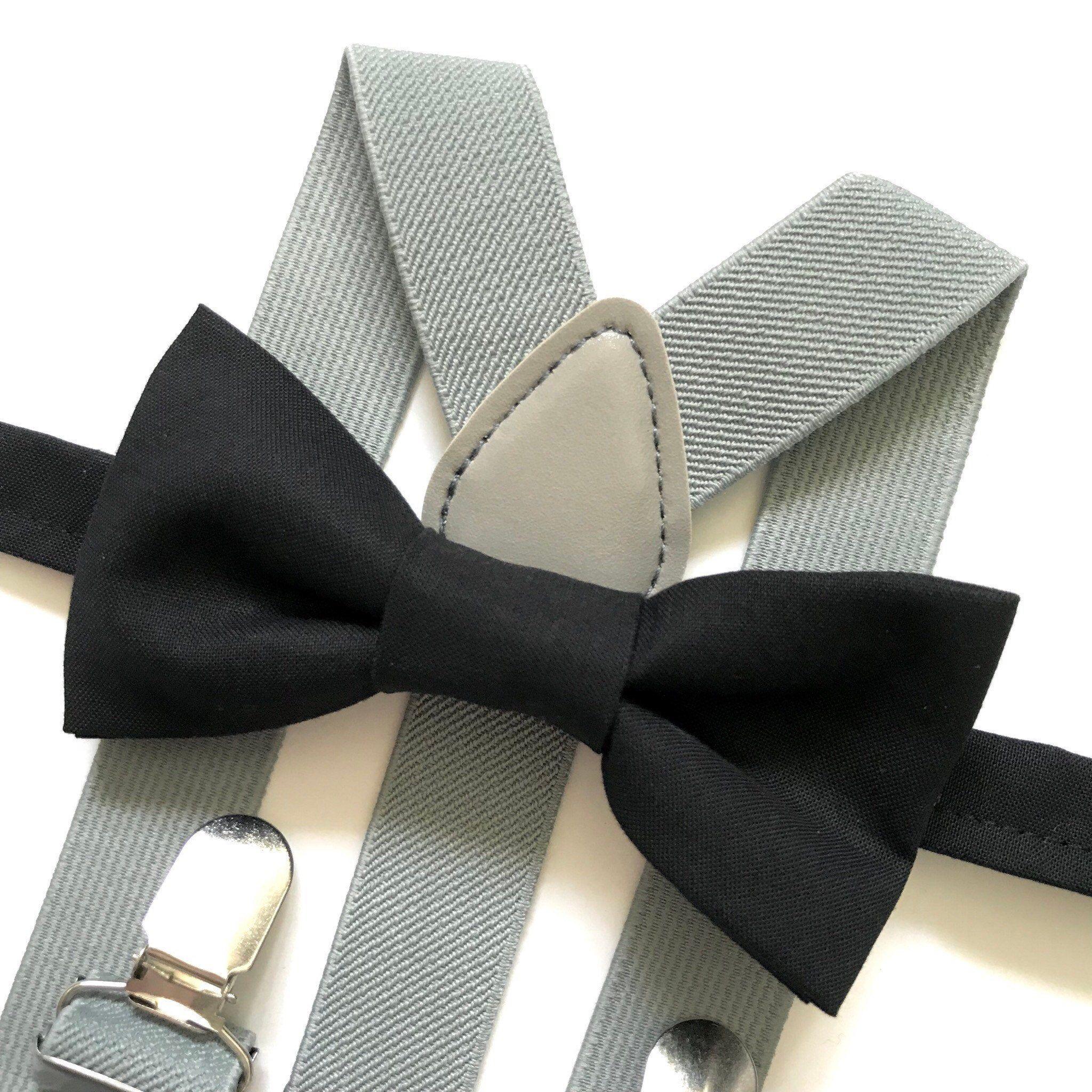 Black bow tie with light grey suspenders grey suspenders