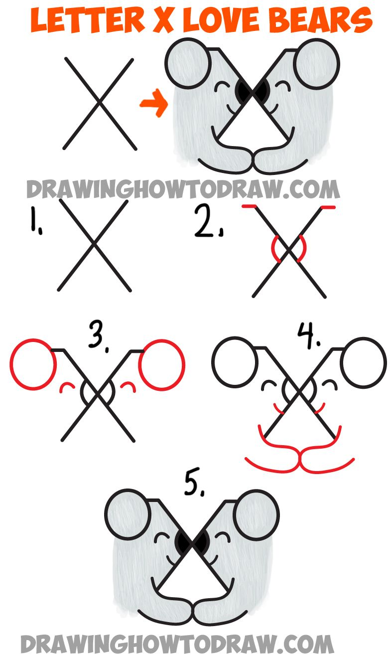 Easy Step By Step Drawing Tutorial: How To Draw Two Bears In Love From The Letter X