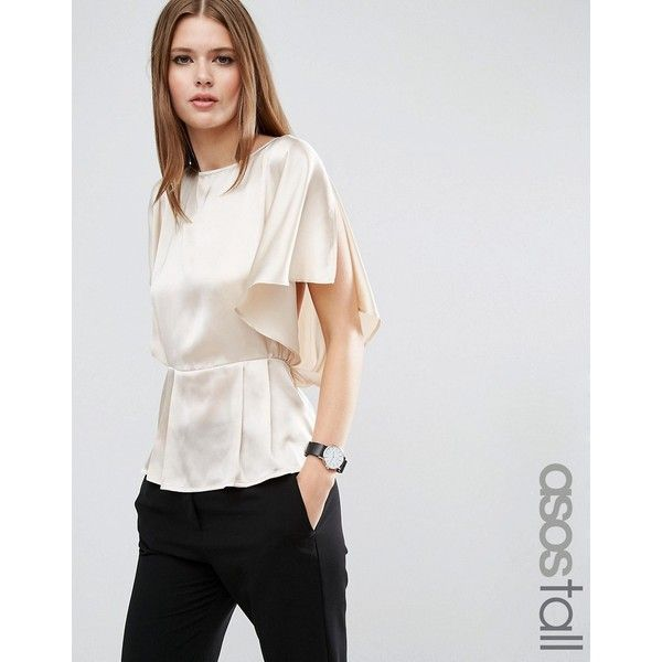 c1e9bedc32f7dc ASOS TALL Kimono Sleeve Blouse In Satin ($48) ❤ liked on Polyvore featuring  tops, blouses, cream, white top, white satin top, cream satin blouse, tall  tops ...