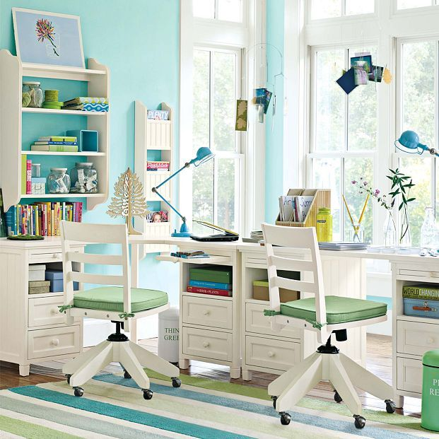 Wooden Study Room: Kids Bedroom, Chic And Cool Kids Study Room Furniture