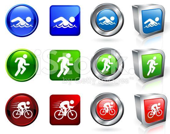 Triathlon Competition royalty free vector icon set royalty-free stock vector art