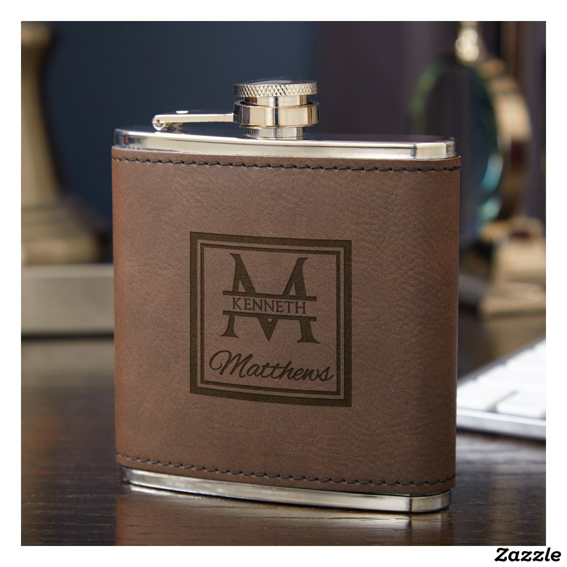Date and Engraved Lid Title Name including Choices of Design Groomsman Flask Set Rustic Leatherette wrapped Stainless Steel 6 ounces Personalized Custom Engraved with a Leatherette Gift Box