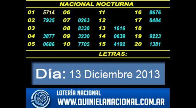 Quiniela Nacional Nocturna Viernes 13 de Diciembre 2013   Quiniela