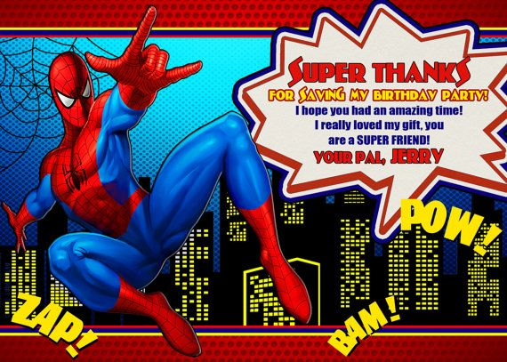 Spiderman Thank You Card Digital File By Okinvitations On Etsy Boy