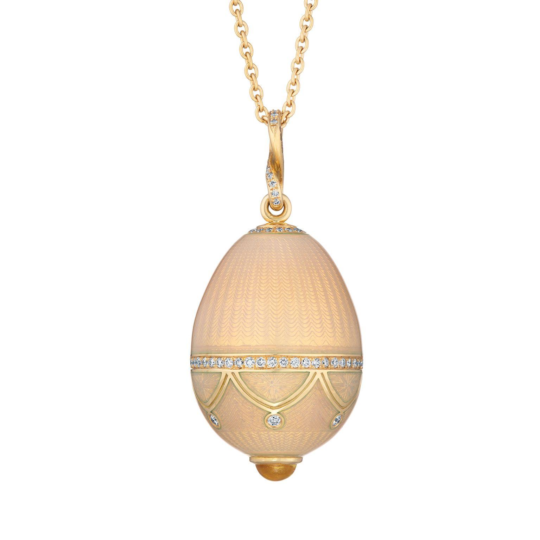 Fabergé Palais Cream Pendant #Fabergé #FabergéEgg #pendant #enamel #diamonds