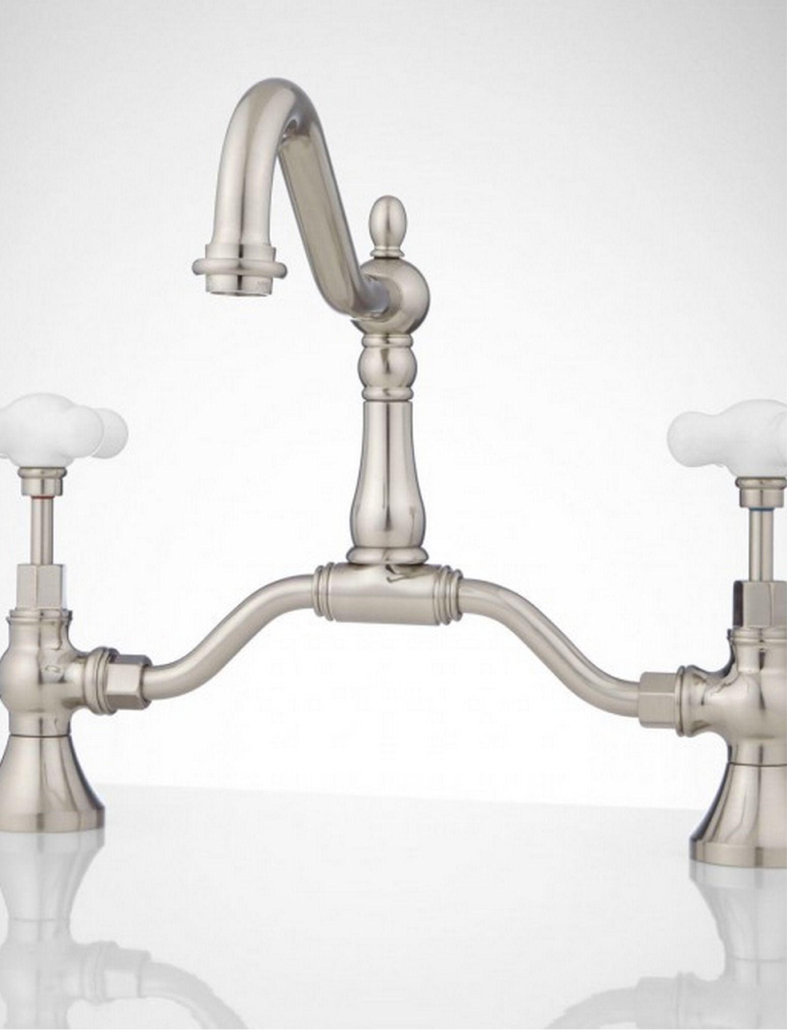 Elnora Bridge Bathroom Faucet - Large Porcelain Cross Handles ...