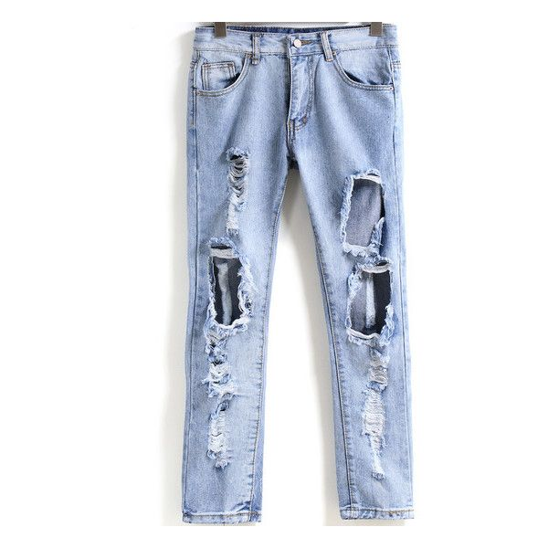 SheIn(sheinside) Blue Ripped Denim Slim Pant ($17) ❤ liked on Polyvore featuring jeans, bottoms, pants, sheinside, blue, denim skinny jeans, destroyed denim jeans, denim jeans, ripped skinny jeans и destroyed jeans